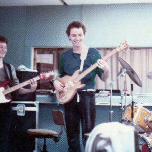 DéFilm rhythm section rehearsing in the Fælledvej Studio, 1985