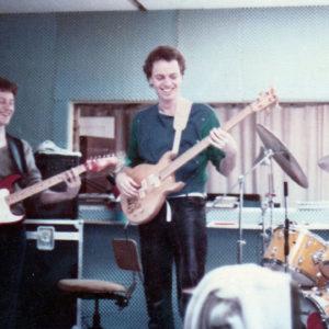 DéFilm rhythm section rehearsing in the Fælledvej Studio, 1985